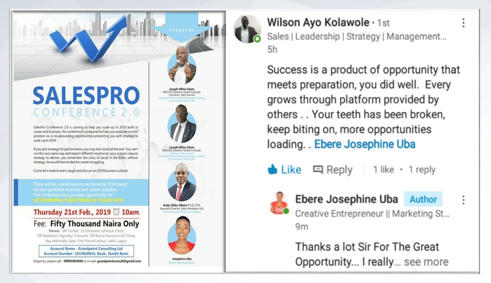 Sales Pro Conference Invite & Testimonials